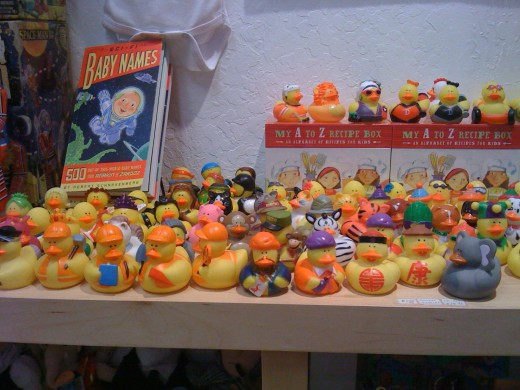 Yellow duck collection in a shop.
