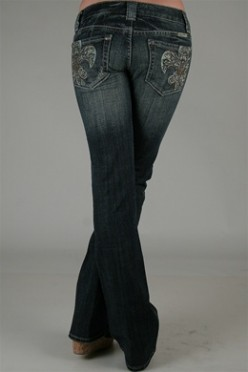 Miss Me Boot Cut with Fleur de Lis Rhinestone Embellishment