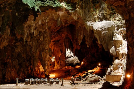 Callao Caves in Cagayan province, Northern Luzon, Philippines. The cave system has 7 chambers, which contain both stalactites and stalagmites. The most accessible chamber contains a chapel.