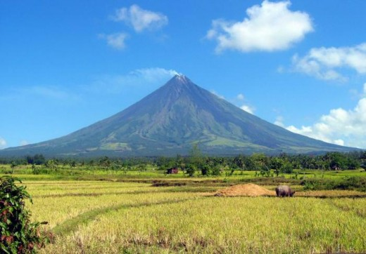 Mayon Volcano in the province of Albay. Old Mayon is famous for having an almost perfect cone. That distinction may not last long because the volcano has been acting up the past years.