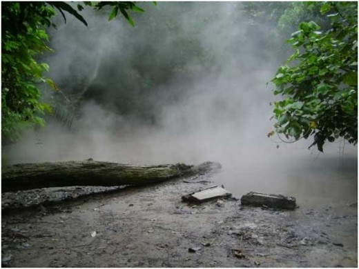 Mud Springs of Los Baos, Laguna. Tucked away in the forested slopes of Mt. Makiling are simmering mud holes spewing sulfuric gases.  The same inner turmoil that heats up the mud provide natural hot plumbing to several hot spring resorts that dot the