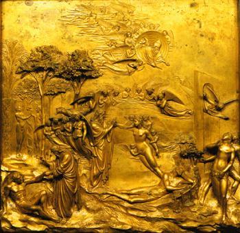 """The Gates of Paradise"": Panel 1 - ""Genesis,"" Adam and Eve"