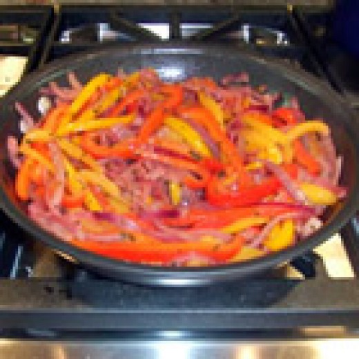Caramelized Red Bell Peppers and Onions (from AllRecipes)