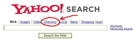 Finding the Yahoo Directory Search