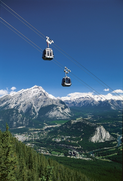 Spectacular view of the gondola lift from the Sulphur Mountain webcam at Banff - z.about.com