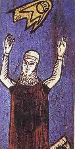 """These images of two crusaders date from a 12th century manuscript Annales Laurissenses"""" (volumes/books about historical and religion events) and refer to a UFO sighting in the year 776, during the siege on Sigiburg castle, France."""
