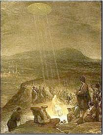 """This image is by Flemish artist Aert De Gelder and is entitled """"The Baptism of Christ"""" It was painted in 1710 and hangs in the Fitzwilliam Musuem, Cambridge. A disk shaped object is shining beams of light down on John the Baptist and Jesus."""