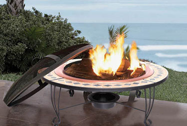 Wood burning fire pit with table top for entertaining.