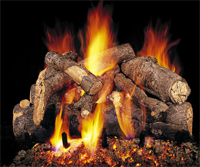 This vented gas log fireplace uses ceramic logs to look like American Oak.  With the difficulty keeping real wood burning this gas log fire looks more real than a real fireplace and lights with  a remote control.