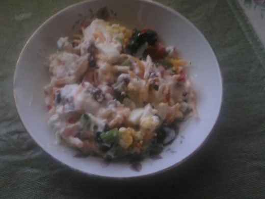 This a salad, I have used at weddings, funerals and any occassion; you canthink of and have always gotten great rave revues. It's pretty, it taste delicious and it's a fail safe salad, that never fail to satisfy.