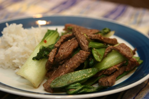 Sitr Fry Beef, Bok Choy, Snow Peas and Ginger
