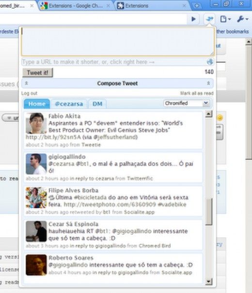 Twitter integrates perfectly in to Google Chrome with the Chromed Bird Chrome Addon!
