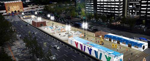 Outdoor ice rink in Gwanghwamun Korea www.korea.net/news
