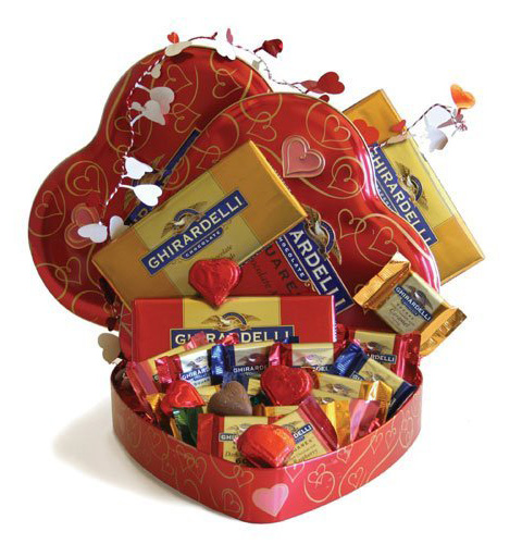 Give him your heart with this chocolate filled tin