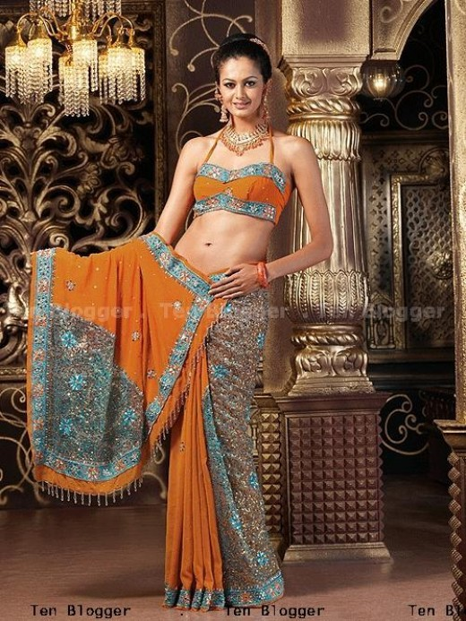 Georgette Saree With Glass Tissue Fabric Patchwork In Pallu & Border , Multicolour Sequence Stones Beads All Over Saree for Marriage