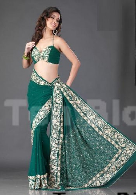 Georgette Embroidered Partywear Indian Saree