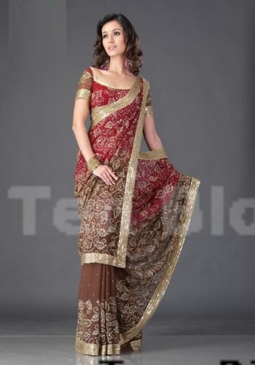 Georgette Double Shaded Saree With Heavy Sequence Jaal And A Gold Border