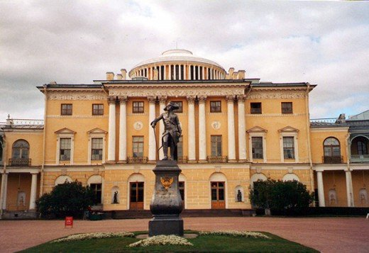 Pavlovsk Palace with Paul I statue in the foreground. Photo by me