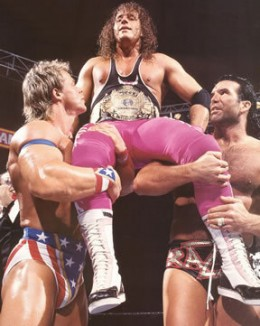 """Lex Luger and Scott """"Razor Ramon"""" Hall carry Bret Hart on their shoulders at WrestleMania X."""
