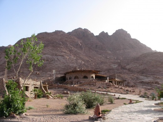 Lodging at St. Catherine's Village near the base of Mt. Sinai blends in well with rocky, dry surroundings