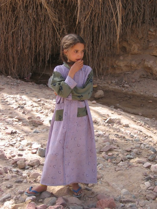 Young girl at wadi in Sinai Desert