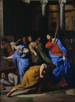 A different example of Jesus' anger: Christ Expelling the Money Changers, by Nicolas Colombel (1682)