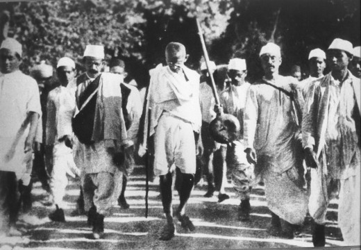 "Gandhi leading the famous ""Salt March."" Image Wikipedia"