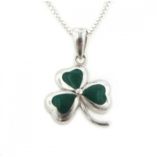 Order this lucky Irish shamrock necklace with matching earrings and bracelet below.