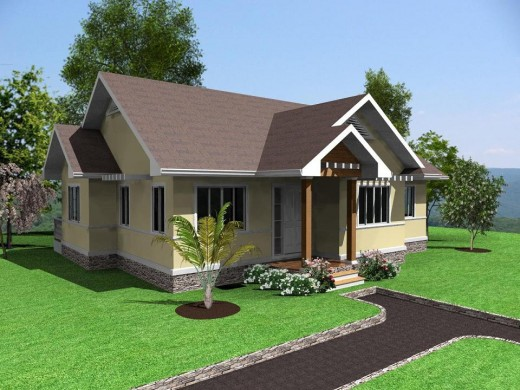 A simple, modern home with three bedrooms, two bathrooms, a kitchen, living room, and attic.