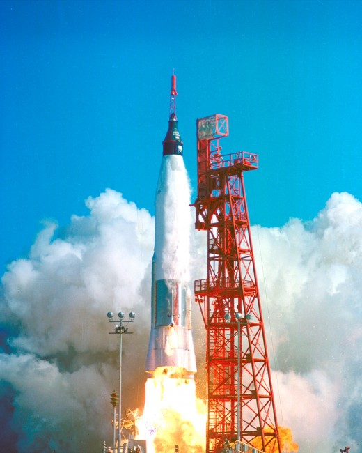 John Glenn rides an Atlas D rocket into orbit. Photo courtesy of NASA.