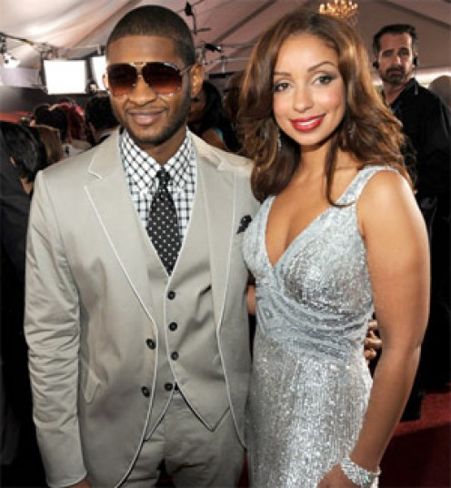 Usher and Mya arriving at the 52nd Grammy Awards