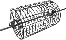 Rotisserie basket fits on to a rotisserie spit rod.  This is great for tumbling breaded chicken, fish or chicken wings.