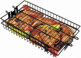 Rotisserie basket on spit rod.