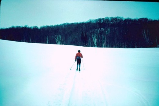 Plenty of room on the trail as a cross-country skier plows ahead in the Canadian Ski Marathon.