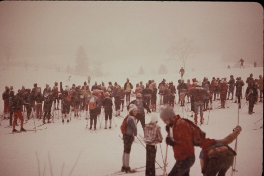 Cross country skiers waiting at starting point of the 1978 Canadian Ski Marathon.