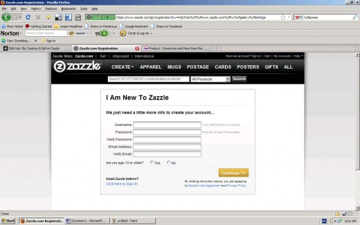 Zazzle Sign-Up Screen