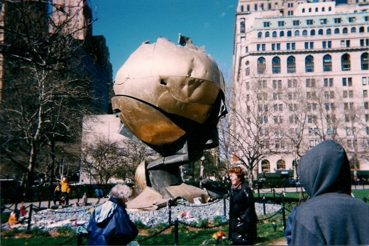 Pictured is the globe that stood in front of the twin towers.  On 911 it was reduced to this.