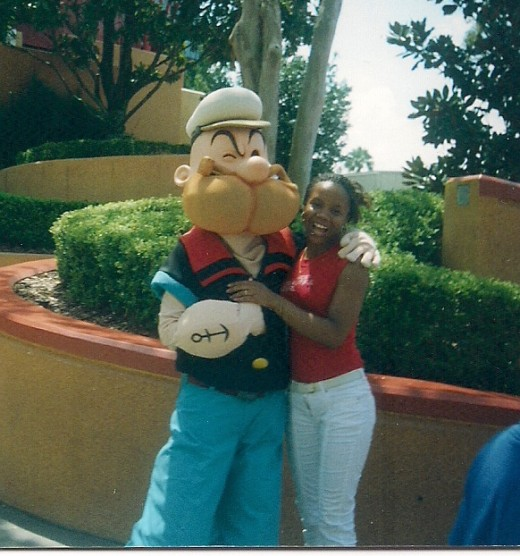 My oldest and Popeye! Universal Studios, Florida