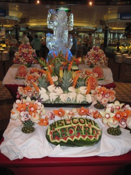 Welcome Aboard food sculpture on Royal Caribbean ship Jewel of the Seas