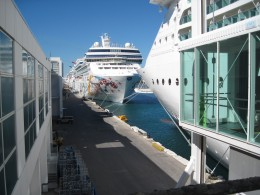 Two Cruise Ships docked in Miami Florida