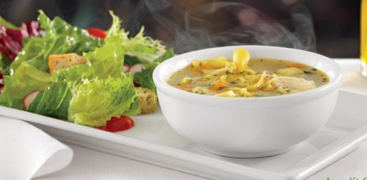 Lunch Menu- Amalfi Chicken Soup with fresh greens salad