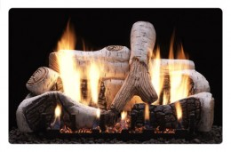 Ventless gas log fireplace designs have specific patterned logs to minimize carbon build up.  Even with the safety precautions and lower BTU necessary for vent free gas logs, a Birch design like this one will need to be cleaned often.