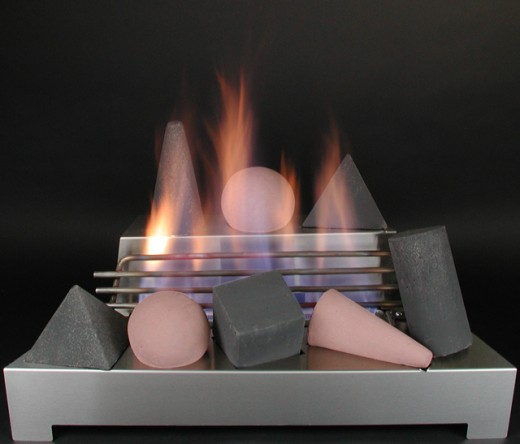 Ventless gas log fire shape fireplace does not allow the ceramic shapes to touch the flames allowing a clean safe burning fireplace without ventilation and  very little mess.  A tool set for this contemporary design would only serve to accent the mod
