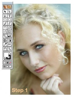 Subject of this artwork, one blond cutie...the original. Compare her to the final result and ask yourself is it the same person?