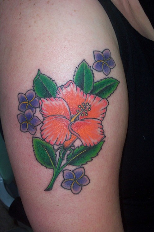 Hibiscus Flower Tattoo For Women On Arm