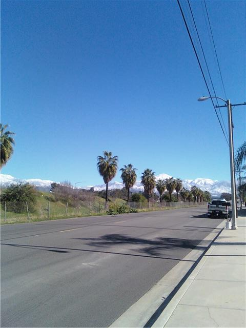 One of the advantages of being a pedestrian in Southern California is all of the beautiful scenery, especially in the winter after the snowfall on the local San Bernardino Mountains.