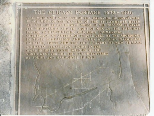 PLAQUE AT 49TH & HARLEM IN CHICAGO MARKS THE SPOT OF THE PORTAGE DISCOVERED IN 1673