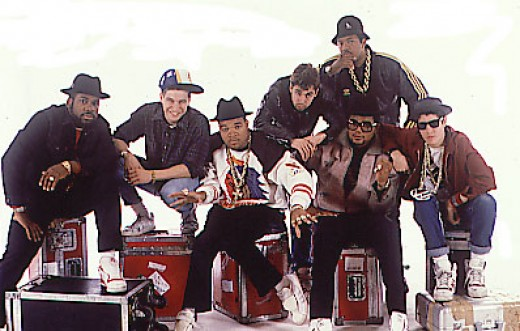Left to right: Jam Master Jay (R.I.P.), King Ad Rock, DJ Hurricane (Beasties), M.C.A., Run and D.M.C., Mike D