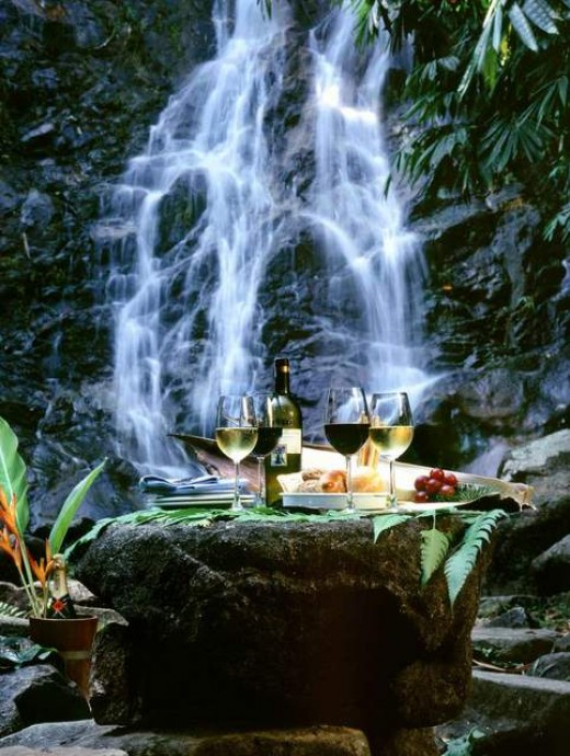 Composition picnic at waterfall