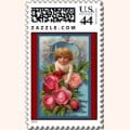 Vintage Cupid with Roses Postage